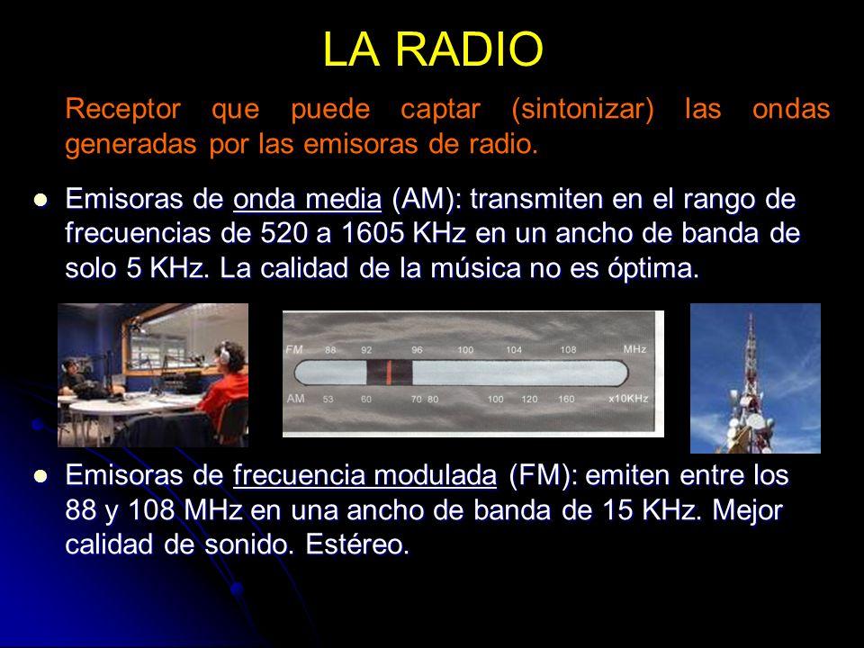 LA RADIO Receptor que puede captar (sintonizar) las ondas generadas por las emisoras de radio. Emisoras de onda media (AM): transmiten en el rango de