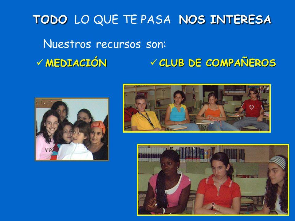 MEDIACIÓNTODO LO QUE TE PASA N NN NOS INTERESA Nuestros recursos son: CLUB DE COMPAÑEROS