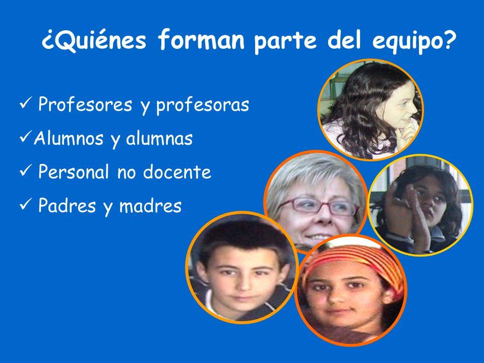 ¿Quiénes forman parte del equipo? Profesores y profesoras Alumnos y alumnas Personal no docente Padres y madres