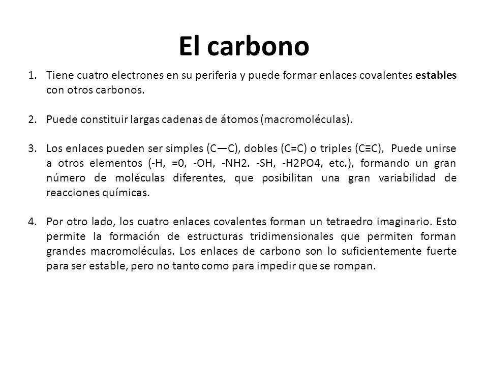 El carbono 1.Tiene cuatro electrones en su periferia y puede formar enlaces covalentes estables con otros carbonos. 2.Puede constituir largas cadenas
