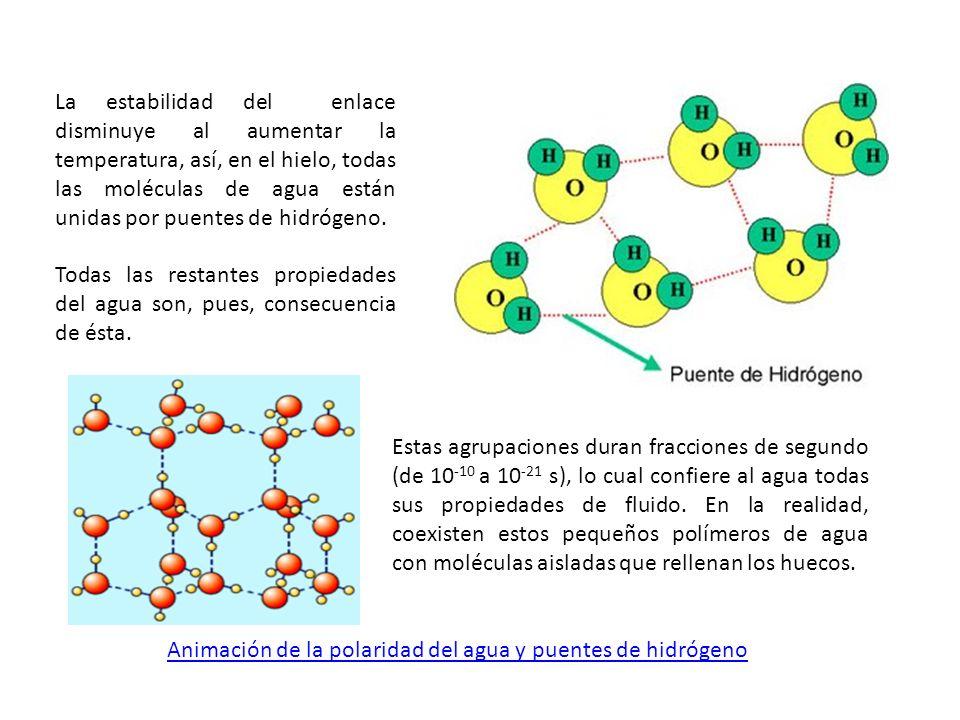 La estabilidad del enlace disminuye al aumentar la temperatura, así, en el hielo, todas las moléculas de agua están unidas por puentes de hidrógeno. T