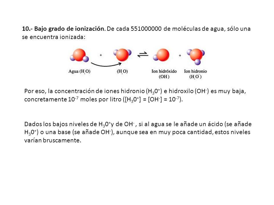 10.- Bajo grado de ionización. De cada 551000000 de moléculas de agua, sólo una se encuentra ionizada: Por eso, la concentración de iones hidronio (H