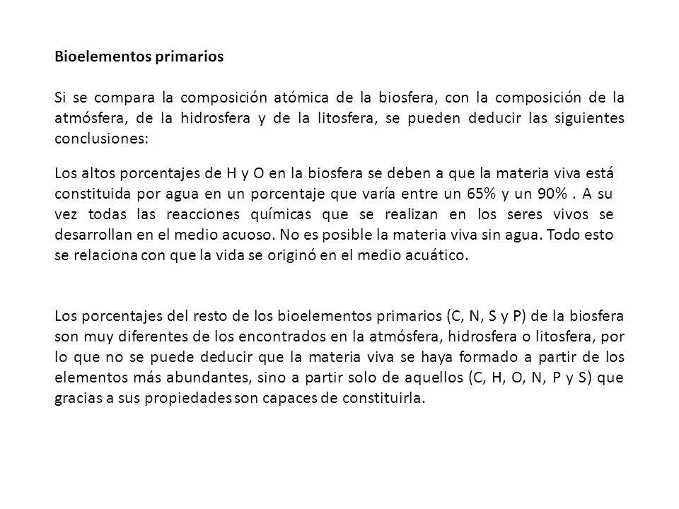 Bioelementos primarios Si se compara la composición atómica de la biosfera, con la composición de la atmósfera, de la hidrosfera y de la litosfera, se