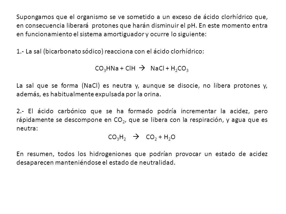Supongamos que el organismo se ve sometido a un exceso de ácido clorhídrico que, en consecuencia liberará protones que harán disminuir el pH. En este