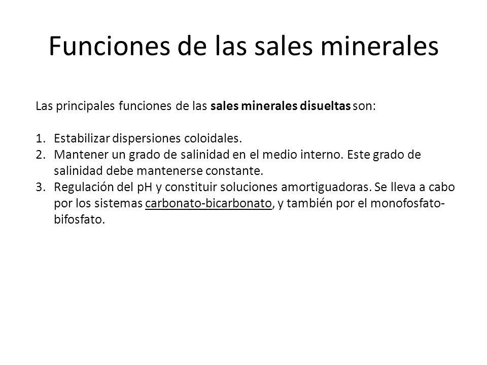 Funciones de las sales minerales Las principales funciones de las sales minerales disueltas son: 1.Estabilizar dispersiones coloidales. 2.Mantener un