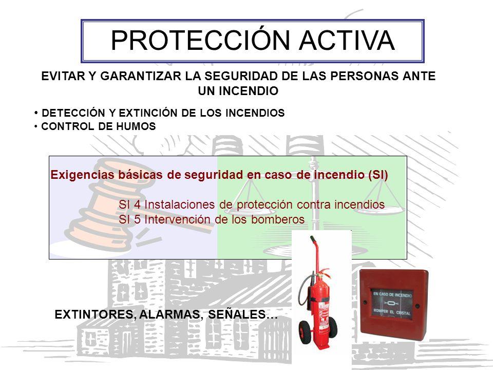 EVITAR Y GARANTIZAR LA SEGURIDAD DE LAS PERSONAS ANTE UN INCENDIO DETECCIÓN Y EXTINCIÓN DE LOS INCENDIOS CONTROL DE HUMOS PROTECCIÓN ACTIVA EXTINTORES