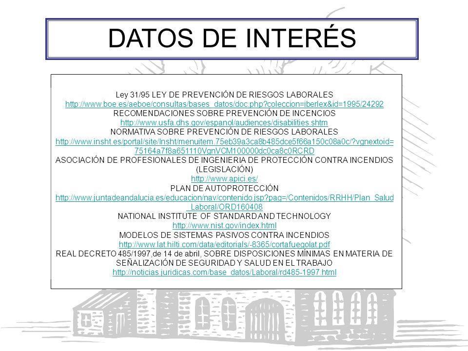 Ley 31/95 LEY DE PREVENCIÓN DE RIESGOS LABORALES http://www.boe.es/aeboe/consultas/bases_datos/doc.php?coleccion=iberlex&id=1995/24292 RECOMENDACIONES