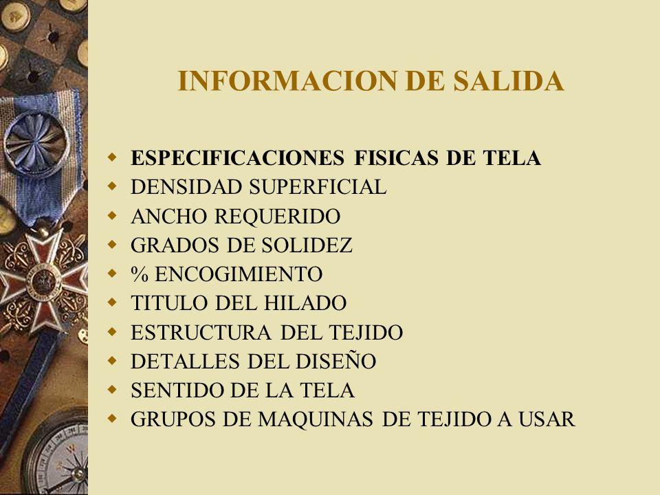 INFORMACION DE SALIDA ESPECIFICACIONES FISICAS DE TELA DENSIDAD SUPERFICIAL ANCHO REQUERIDO GRADOS DE SOLIDEZ % ENCOGIMIENTO TITULO DEL HILADO ESTRUCT