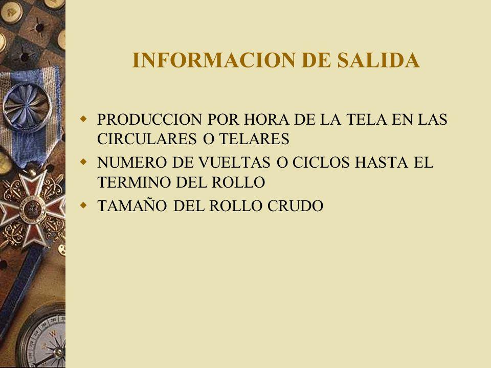 INFORMACION DE SALIDA PRODUCCION POR HORA DE LA TELA EN LAS CIRCULARES O TELARES NUMERO DE VUELTAS O CICLOS HASTA EL TERMINO DEL ROLLO TAMAÑO DEL ROLL