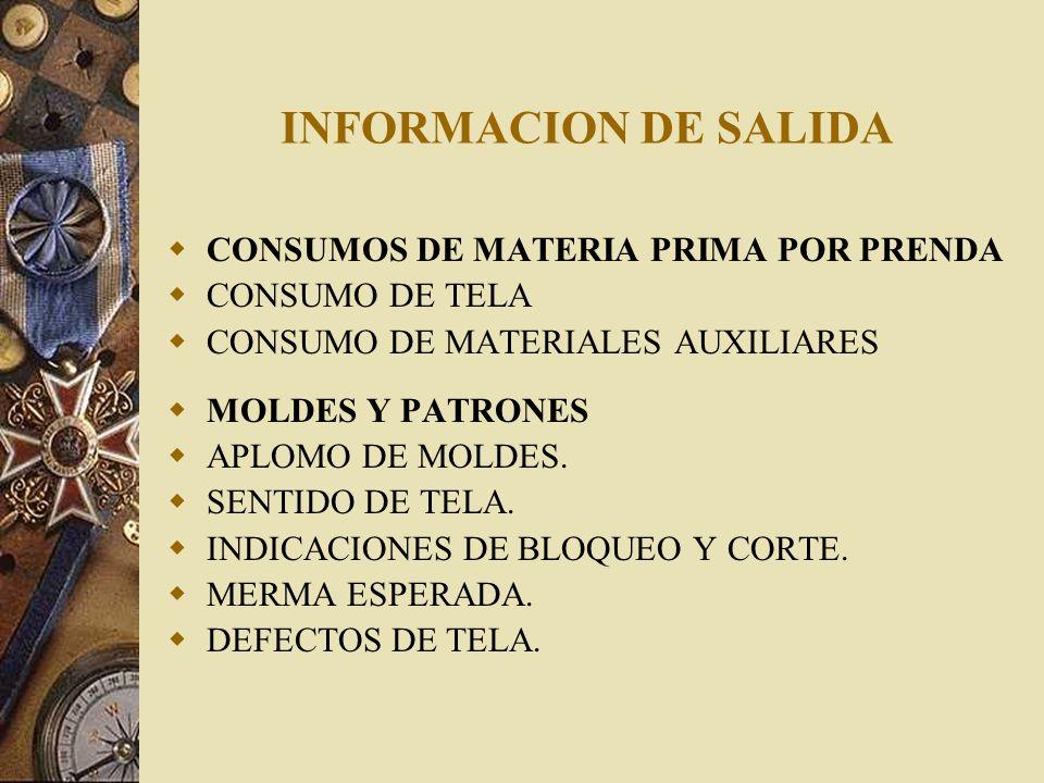 INFORMACION DE SALIDA CONSUMOS DE MATERIA PRIMA POR PRENDA CONSUMO DE TELA CONSUMO DE MATERIALES AUXILIARES MOLDES Y PATRONES APLOMO DE MOLDES. SENTID