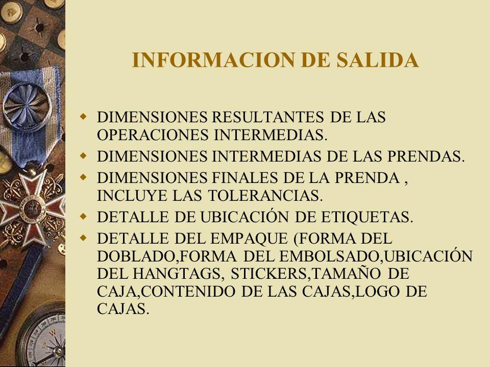 INFORMACION DE SALIDA DIMENSIONES RESULTANTES DE LAS OPERACIONES INTERMEDIAS. DIMENSIONES INTERMEDIAS DE LAS PRENDAS. DIMENSIONES FINALES DE LA PRENDA