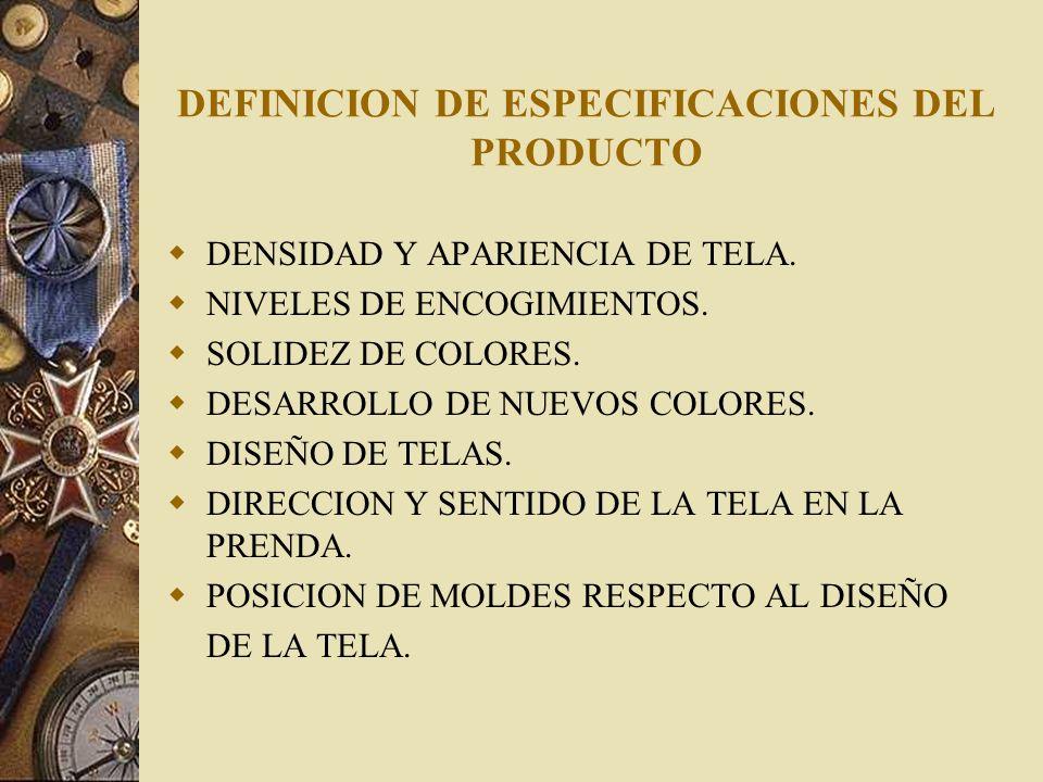 DEFINICION DE ESPECIFICACIONES DEL PRODUCTO DENSIDAD Y APARIENCIA DE TELA. NIVELES DE ENCOGIMIENTOS. SOLIDEZ DE COLORES. DESARROLLO DE NUEVOS COLORES.