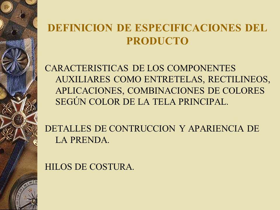 DEFINICION DE ESPECIFICACIONES DEL PRODUCTO CARACTERISTICAS DE LOS COMPONENTES AUXILIARES COMO ENTRETELAS, RECTILINEOS, APLICACIONES, COMBINACIONES DE