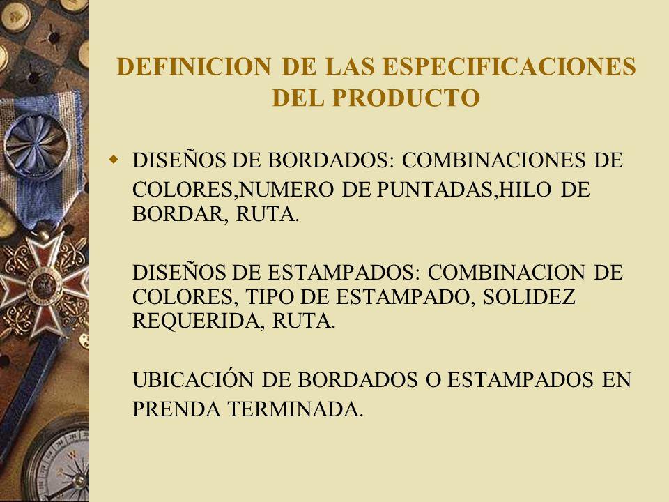 DEFINICION DE LAS ESPECIFICACIONES DEL PRODUCTO DISEÑOS DE BORDADOS: COMBINACIONES DE COLORES,NUMERO DE PUNTADAS,HILO DE BORDAR, RUTA. DISEÑOS DE ESTA