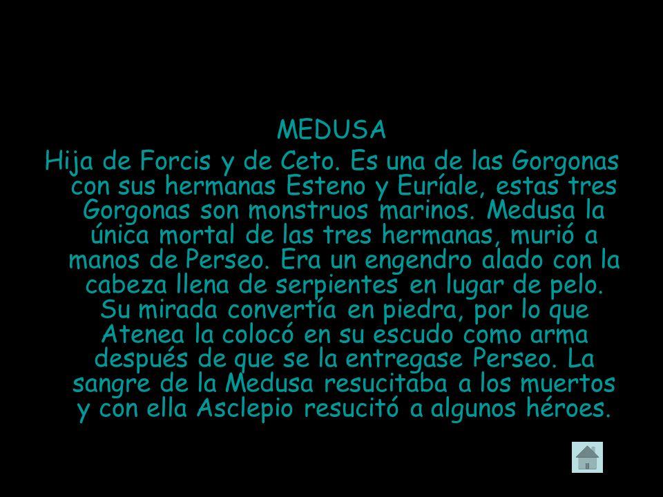 MEDUSA Hija de Forcis y de Ceto. Es una de las Gorgonas con sus hermanas Esteno y Euríale, estas tres Gorgonas son monstruos marinos. Medusa la única