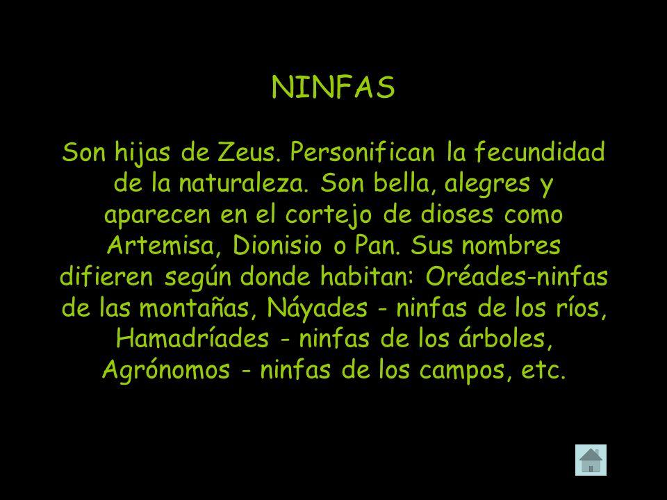 NINFAS Son hijas de Zeus. Personifican la fecundidad de la naturaleza. Son bella, alegres y aparecen en el cortejo de dioses como Artemisa, Dionisio o