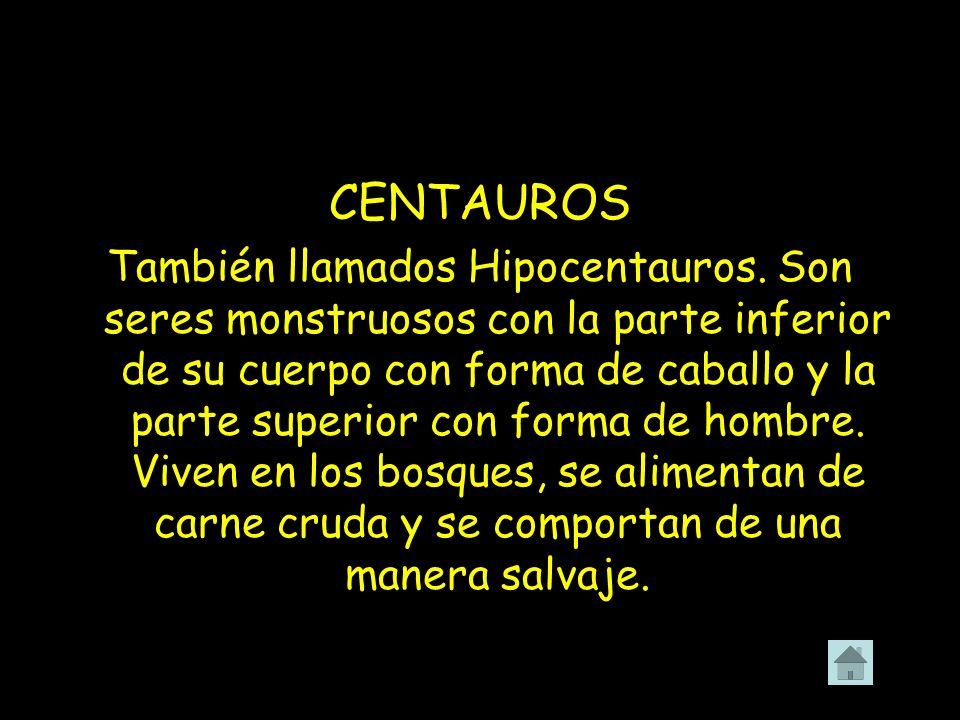 CENTAUROS También llamados Hipocentauros. Son seres monstruosos con la parte inferior de su cuerpo con forma de caballo y la parte superior con forma