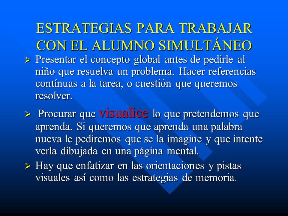 PARA ESTIMULAR EL PT. SIMULTANEO DEL A. SECUENCIAL Posteriormente pasar a preguntas que hagan referencia a la posibilidad de interpretación del dibujo