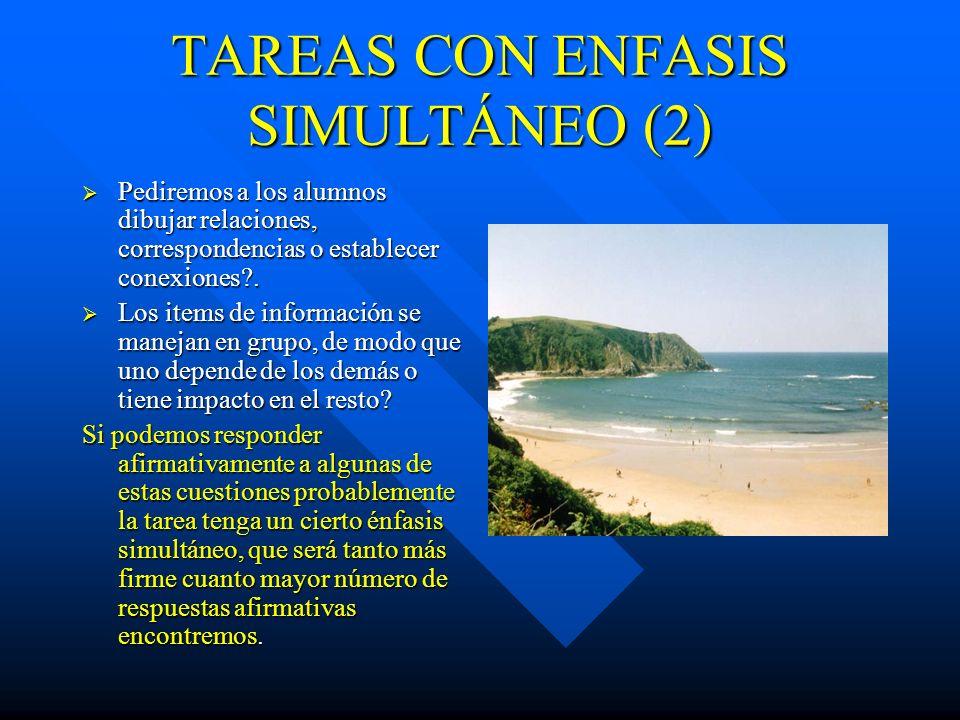 TAREAS CON ENFASIS SIMULTÁNEO(1) Comenzar la tarea por la presentación de la idea global del concepto o tarea. Ir del todo a las partes, del total del