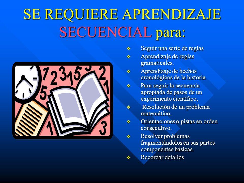 EL APRENDIZAJE SECUENCIAL ES ESPECIALMENTE IMPORTANTE EN: Aprendizaje y retención de hechos aritméticos básicos. Memorización de letras o de listas de