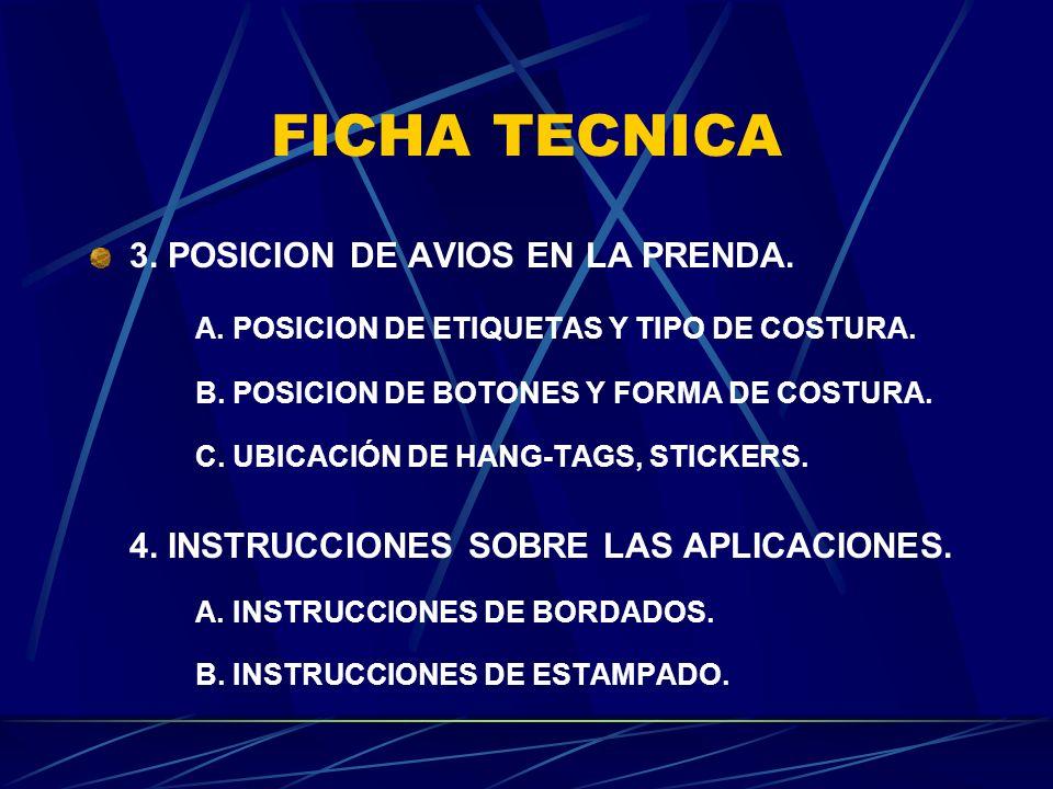 FICHA TECNICA 3. POSICION DE AVIOS EN LA PRENDA. A. POSICION DE ETIQUETAS Y TIPO DE COSTURA. B. POSICION DE BOTONES Y FORMA DE COSTURA. C. UBICACIÓN D