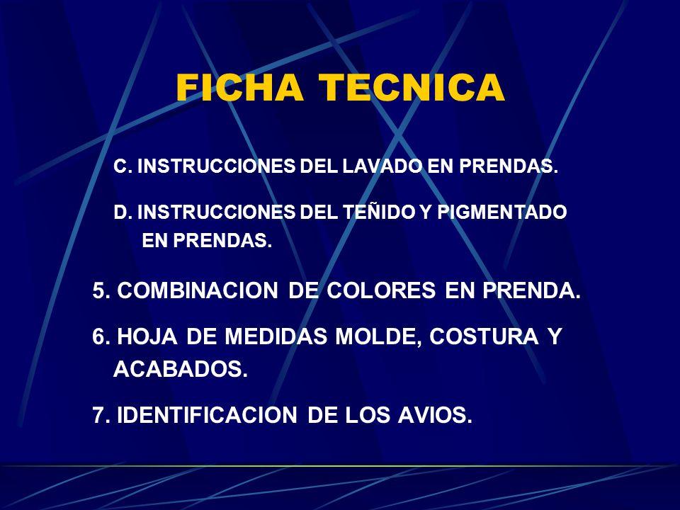 FICHA TECNICA C. INSTRUCCIONES DEL LAVADO EN PRENDAS. D. INSTRUCCIONES DEL TEÑIDO Y PIGMENTADO EN PRENDAS. 5. COMBINACION DE COLORES EN PRENDA. 6. HOJ