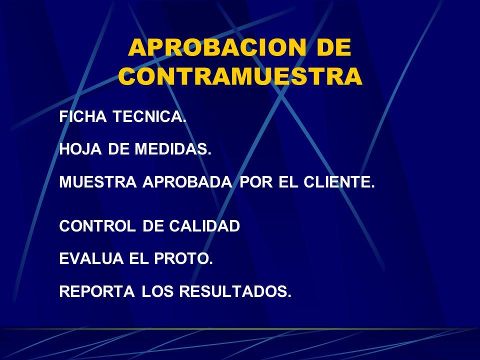 APROBACION DE CONTRAMUESTRA FICHA TECNICA.HOJA DE MEDIDAS.