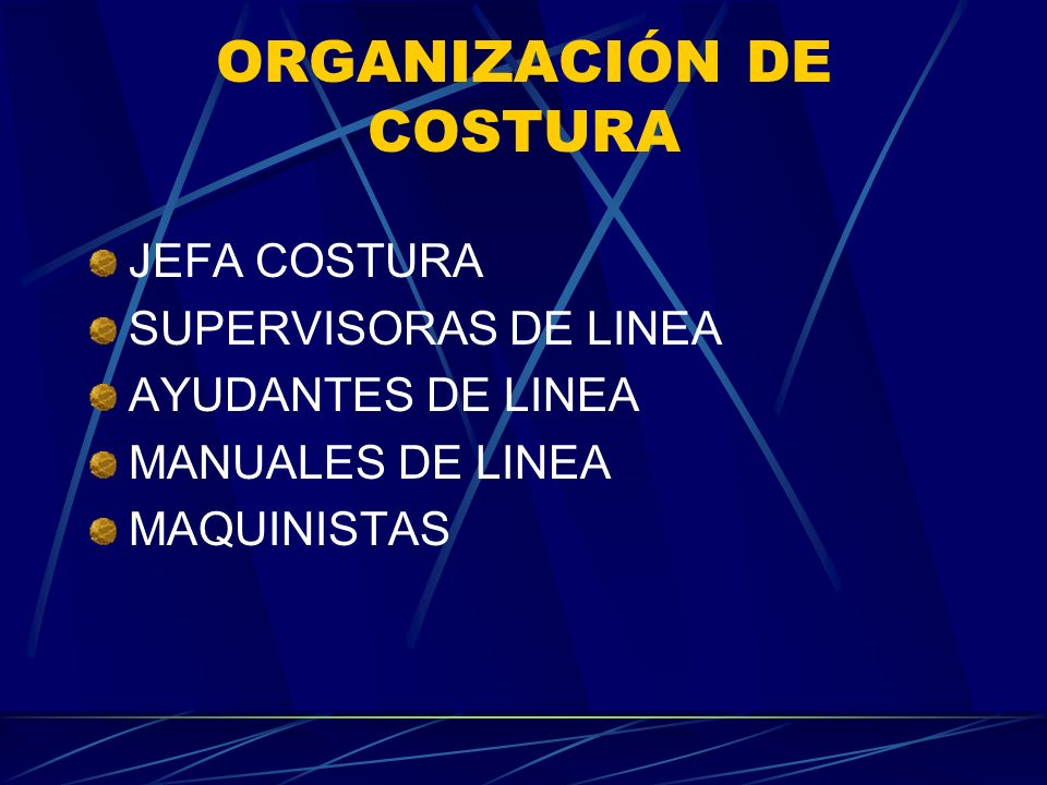 ORGANIZACIÓN DE COSTURA JEFA COSTURA SUPERVISORAS DE LINEA AYUDANTES DE LINEA MANUALES DE LINEA MAQUINISTAS
