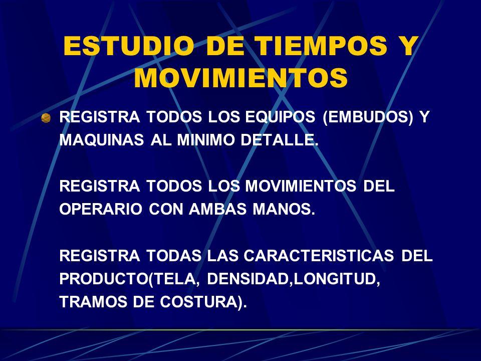 ESTUDIO DE TIEMPOS Y MOVIMIENTOS REGISTRA TODOS LOS EQUIPOS (EMBUDOS) Y MAQUINAS AL MINIMO DETALLE. REGISTRA TODOS LOS MOVIMIENTOS DEL OPERARIO CON AM