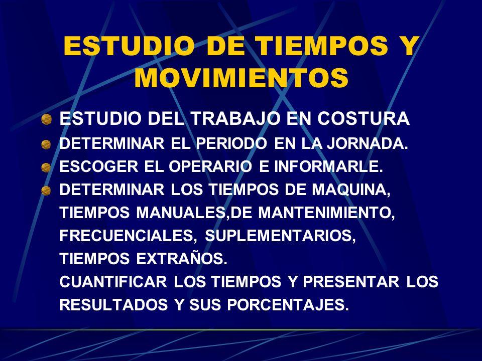 ESTUDIO DE TIEMPOS Y MOVIMIENTOS ESTUDIO DEL TRABAJO EN COSTURA DETERMINAR EL PERIODO EN LA JORNADA. ESCOGER EL OPERARIO E INFORMARLE. DETERMINAR LOS