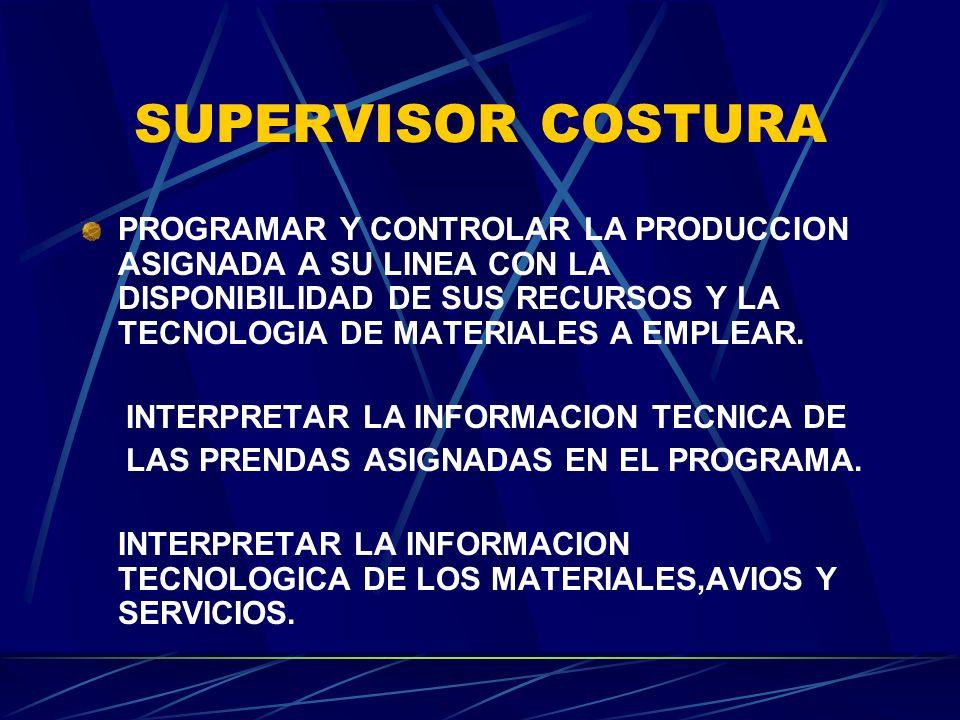 SUPERVISOR COSTURA CALIFICAR EL ESTADO OPERATIVO DE LAS MAQUINAS DE COSTURA.