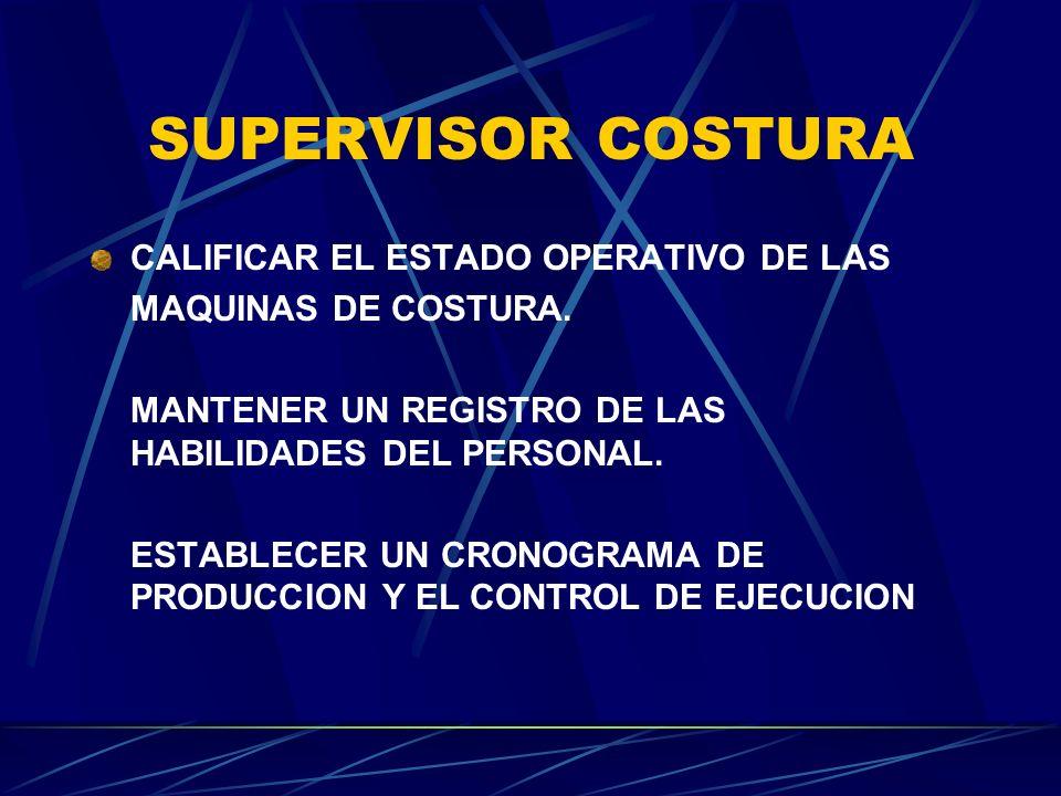 SUPERVISOR COSTURA CALIFICAR EL ESTADO OPERATIVO DE LAS MAQUINAS DE COSTURA. MANTENER UN REGISTRO DE LAS HABILIDADES DEL PERSONAL. ESTABLECER UN CRONO
