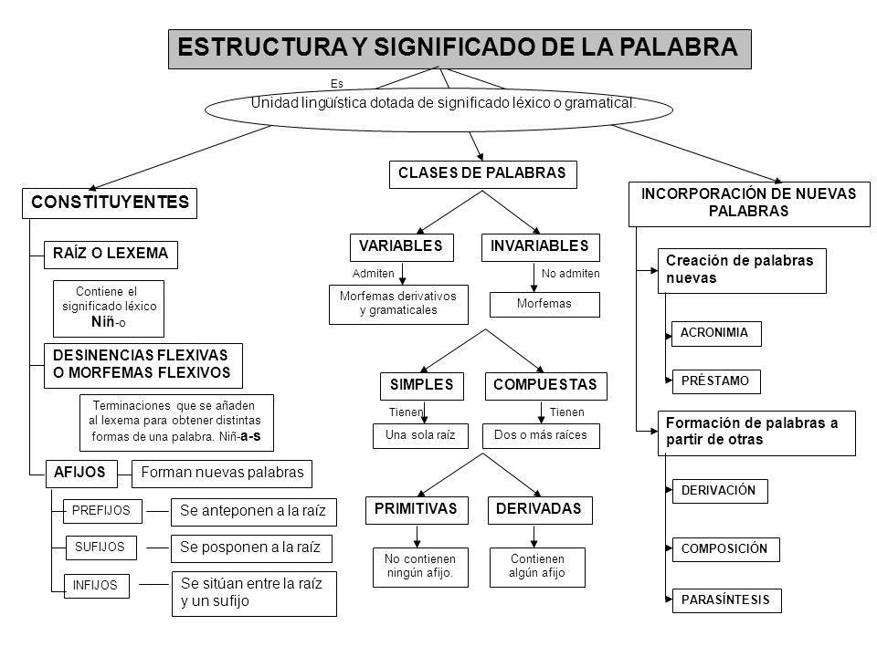 ESTRUCTURA Y SIGNIFICADO DE LA PALABRA Unidad lingüística dotada de significado léxico o gramatical. Es CONSTITUYENTES RAÍZ O LEXEMA Contiene el signi