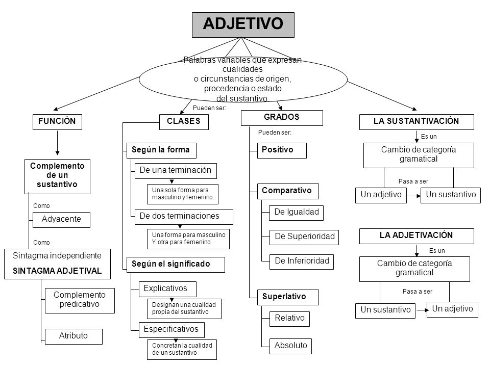 ADJETIVO FUNCIÓNCLASES GRADOS LA SUSTANTIVACIÓN Palabras variables que expresan cualidades o circunstancias de origen, procedencia o estado del sustan