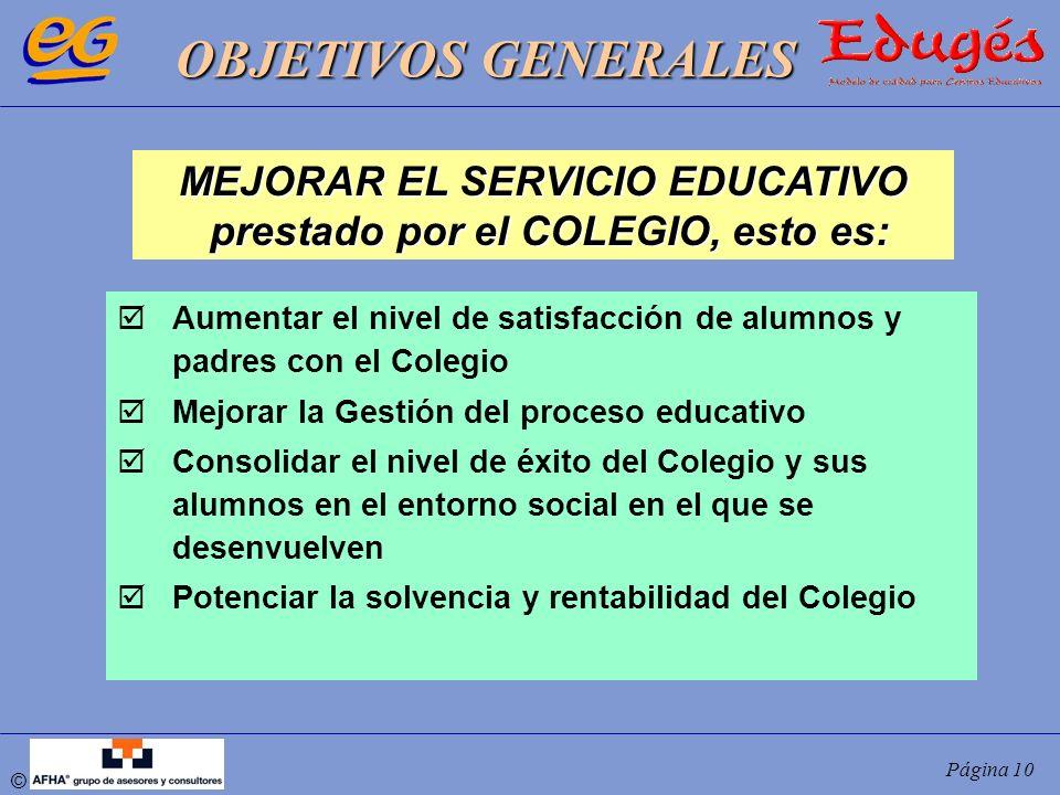 © Página 10 Aumentar el nivel de satisfacción de alumnos y padres con el Colegio Mejorar la Gestión del proceso educativo Consolidar el nivel de éxito