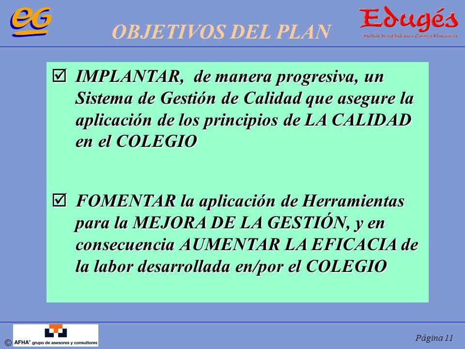 © Página 11 IMPLANTAR, de manera progresiva, un Sistema de Gestión de Calidad que asegure la aplicación de los principios de LA CALIDAD en el COLEGIO