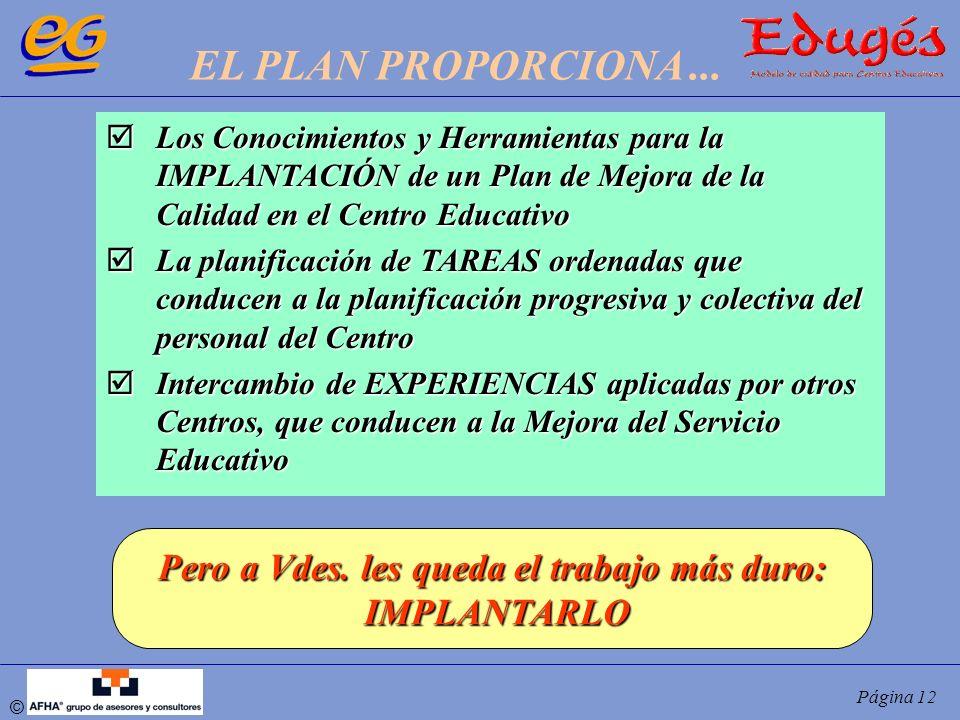 © Página 12 Los Conocimientos y Herramientas para la IMPLANTACIÓN de un Plan de Mejora de la Calidad en el Centro Educativo Los Conocimientos y Herram