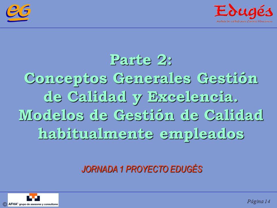 © Página 14 Parte 2: Conceptos Generales Gestión de Calidad y Excelencia. Modelos de Gestión de Calidad habitualmente empleados JORNADA 1 PROYECTO EDU
