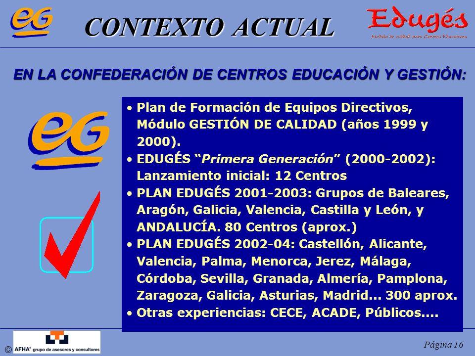 © Página 16 CONTEXTO ACTUAL CONTEXTO ACTUAL EN LA CONFEDERACIÓN DE CENTROS EDUCACIÓN Y GESTIÓN: Plan de Formación de Equipos Directivos, Módulo GESTIÓ