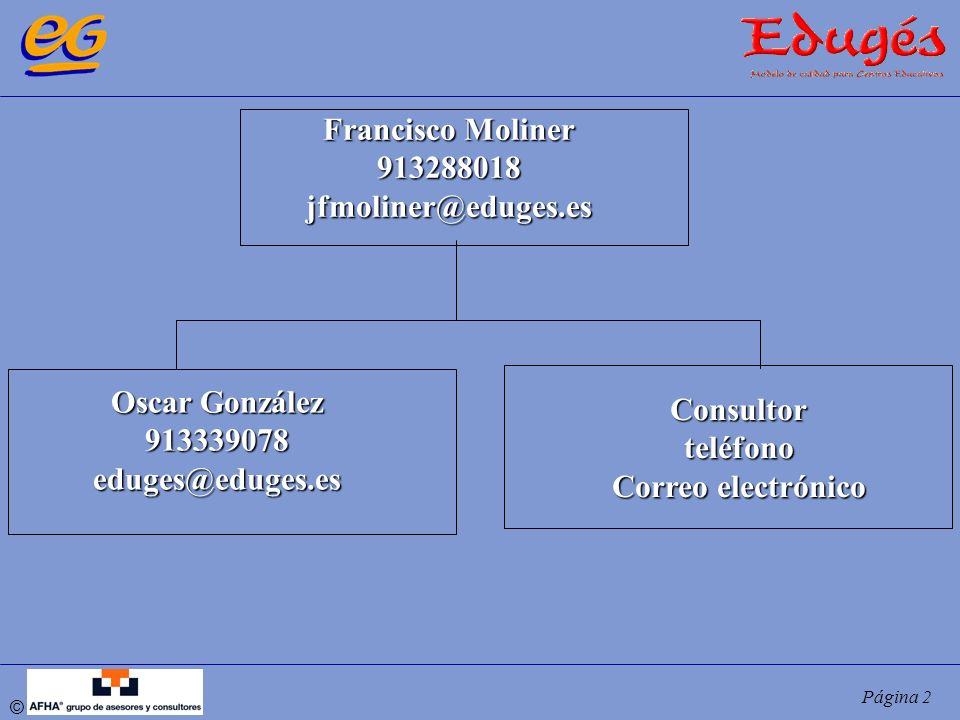 © Página 2 Francisco Moliner 913288018jfmoliner@eduges.es Oscar González 913339078eduges@eduges.es Consultorteléfono Correo electrónico