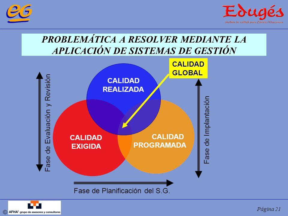 © Página 21 PROBLEMÁTICA A RESOLVER MEDIANTE LA APLICACIÓN DE SISTEMAS DE GESTIÓN CALIDAD EXIGIDA CALIDAD PROGRAMADA CALIDAD REALIZADA CALIDADGLOBAL F