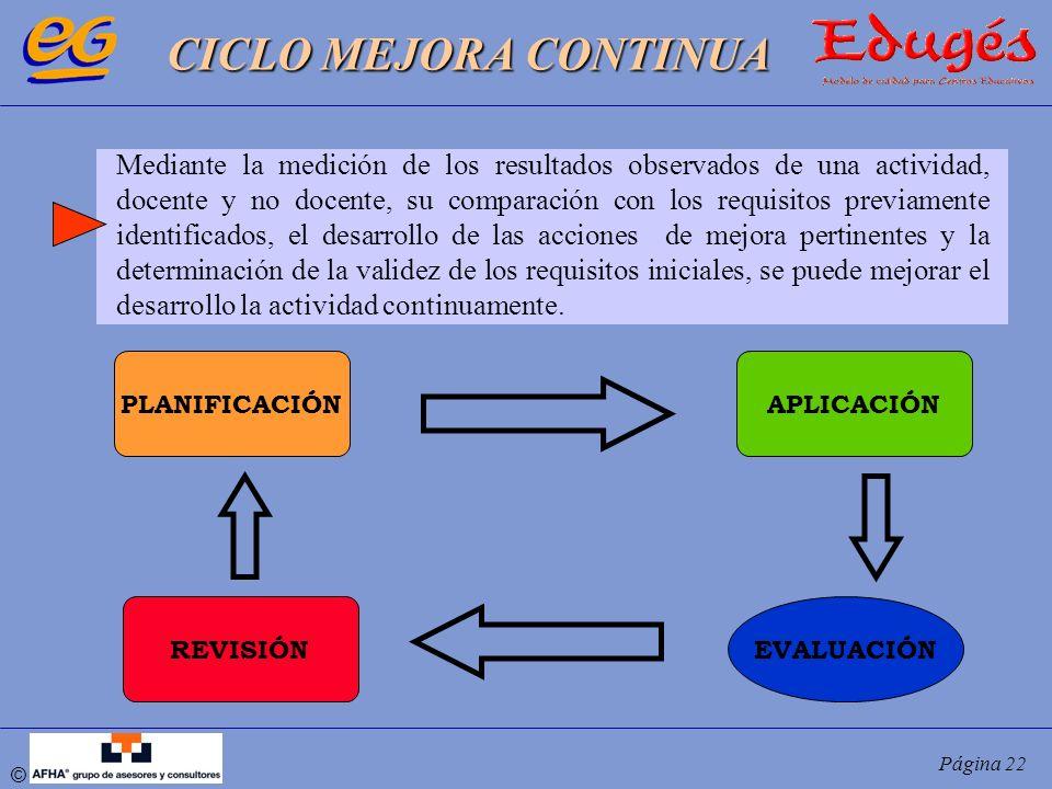 © Página 22 CICLO MEJORA CONTINUA PLANIFICACIÓNAPLICACIÓN EVALUACIÓNREVISIÓN Mediante la medición de los resultados observados de una actividad, docen