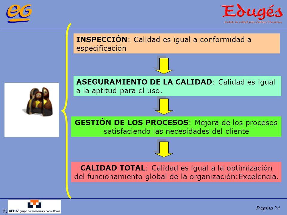 © Página 24 INSPECCIÓN: Calidad es igual a conformidad a especificación ASEGURAMIENTO DE LA CALIDAD: Calidad es igual a la aptitud para el uso. GESTIÓ