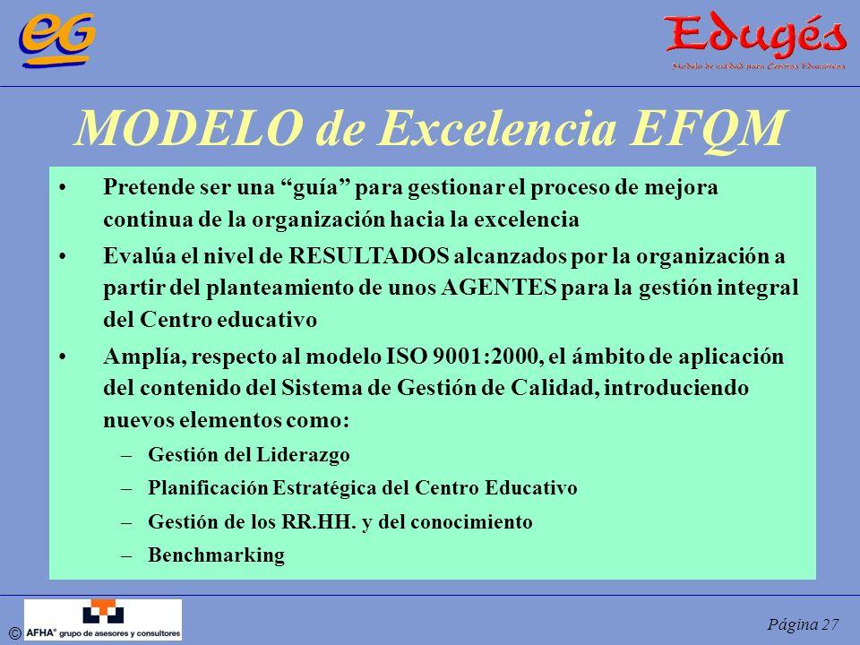 © Página 27 MODELO de Excelencia EFQM Pretende ser una guía para gestionar el proceso de mejora continua de la organización hacia la excelencia Evalúa