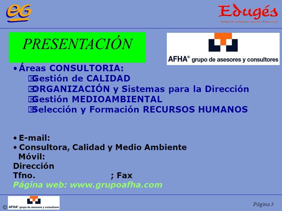 © Página 3 Áreas CONSULTORIA: Gestión de CALIDAD ORGANIZACIÓN y Sistemas para la Dirección Gestión MEDIOAMBIENTAL Selección y Formación RECURSOS HUMAN