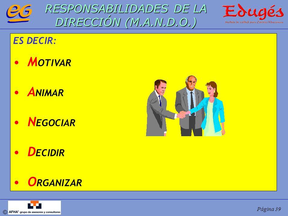© Página 39 RESPONSABILIDADES DE LA DIRECCIÓN (M.A.N.D.O.) ES DECIR: M OTIVAR A NIMAR N EGOCIAR D ECIDIR O RGANIZAR