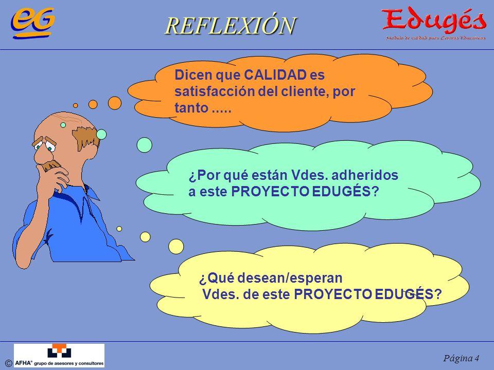 © Página 4 Dicen que CALIDAD es satisfacción del cliente, por tanto..... REFLEXIÓN ¿Qué desean/esperan Vdes. de este PROYECTO EDUGÉS? ¿Por qué están V