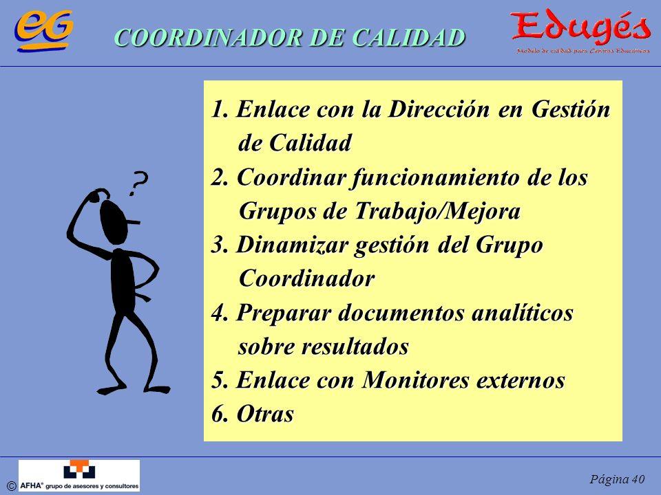 © Página 40 COORDINADOR DE CALIDAD 1. Enlace con la Dirección en Gestión de Calidad 2. Coordinar funcionamiento de los Grupos de Trabajo/Mejora 3. Din