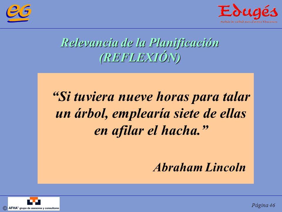 © Página 46 Si tuviera nueve horas para talar un árbol, emplearía siete de ellas en afilar el hacha. Abraham Lincoln Relevancia de la Planificación (R