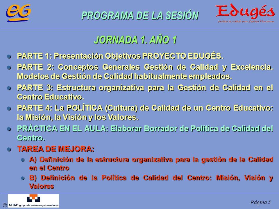 © Página 5 PROGRAMA DE LA SESIÓN PARTE 1: Presentación Objetivos PROYECTO EDUGÉS. PARTE 1: Presentación Objetivos PROYECTO EDUGÉS. PARTE 2: Conceptos